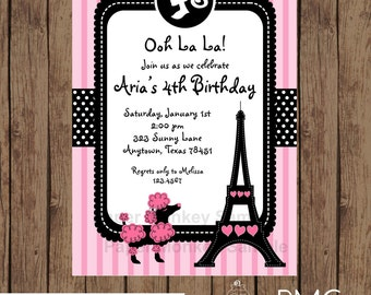 Custom Printed Pink Paris Poodle Themed Birthday Party Invitations - 1.00 each with envelope