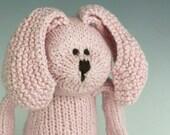"Peony Rabbit - Organic Cotton Hand Knit Large Eco Friendly Stuffed Animal - Toy Bunny, 16"" tall"