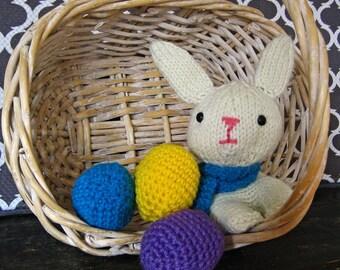 Sale! Harold Hopper Knit Bunny Rabbit Play Set, hand knit rabbit, easter egg, crochet egg, knit stuffed animal, hand knit toy, easter bunny