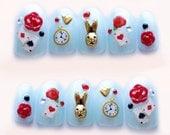 Alice in wonderland, fake nails, kawaii nails, 3D nails, false nail, bunny, rose, blue, Japanese nail