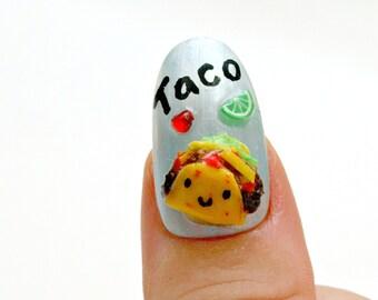 Tacos, food nail, 3D nail, pastel fashion, miniature food, decoden, Japanese nail art, acrylic nail, Harajuku, kawaii nail, decora, pop kei,