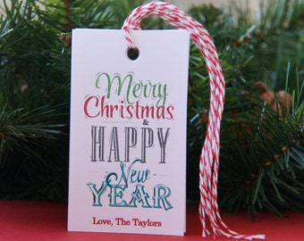 Chalkboard Fonts Merry Christmas an Happy New Year Tags or Package Labels (Qty. 10)