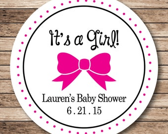 It's a Girl Bow . Personalized Baby Shower Stickers or Tags