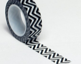 Black Chevron Washi Tape . 10 yards (1 roll)