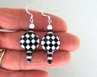 Harlequin black and white earrings, black and white op art earrings, mod 1960s earrings