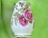 Elegant Bone China Rose Shakers with 22 Carat Gold Trim  Collectible