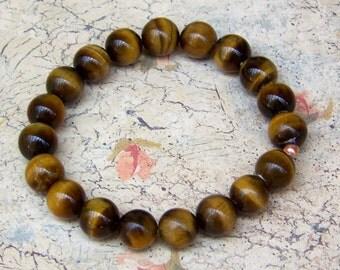 Tigers Eye Stretch Bracelet Genuine Tigers Eye Jewelry Yoga Bracelet Energy Jewelry Womens Gift Boho Jewelry