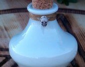 LIGHT LADY or LORD Ancestral Altar Herbal Potion Incense Spirit Vessel or Stash Jar with Hand Made Skull Bead and Natural Sinew