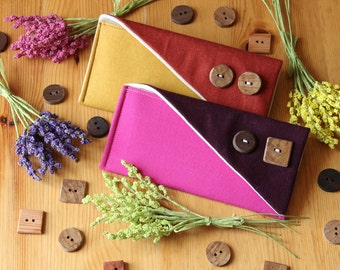 The KATIE CLUTCH - Color Block Clutch, Linen Clutch with Wood Buttons, Custom Bridesmaid Clutch, Rustic Wedding Clutch - Pick Your Colors