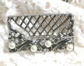 Vintage set of 6 in Original Box Silver Metal Filigree Place Name Card Holders - Leaves Faux Pearls Rhinestones