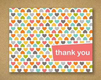 Recycled Thank You Cards - Modern Hearts in Summer Hues - Catherine