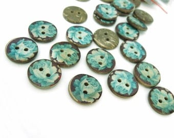 6 Coconut Shell Buttons 15mm - Blue Rose Pattern (BC701)