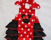 Red polka dot Minnie Mouse sunsuit Minnie mouse Halter Minnie mouse outfit Minnie ruffled romper Minnie mouse