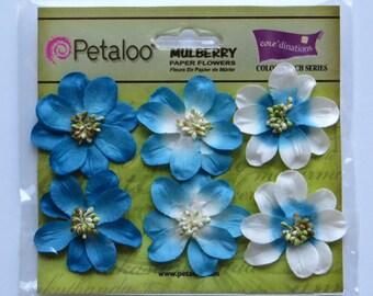 mulberry flowers - paper flowers - marine blue flowers - Petaloo flowers - card embellishments - scrapbook flowers - stocking stuffers