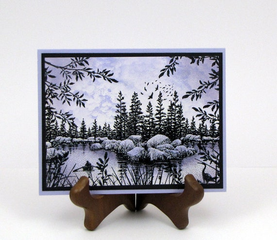 Stampscapes Lake Scenery - Handmade Greeting Card
