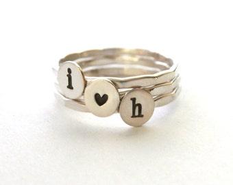 Custom Initial Embossed Sweetheart Stack Rings, Stack Rings, Heart Ring, Silver Rings, Sterling Silver Rings, Set Of Three
