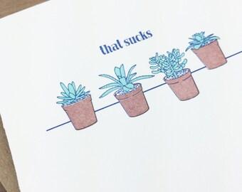 that sucks - single letterpress greeting cards