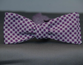 Purple and White Micro Gingham w Green Accent  Bow Tie