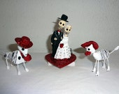 Bride and Groom and Cat and Dog Day of the Dead Wedding CakeTopper - Pet Caketopper - Cat Caketopper - Dog Cake Topper