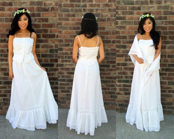 1970s 3 Peice White Boho Casual Wedding Dress Hippie