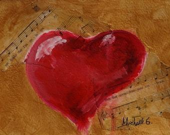 Love Song Heart Painting, Original Wall Art, Anniversary or Wedding