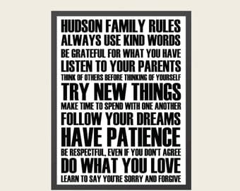 Personalized Wall Art- Family Rules {digital print}