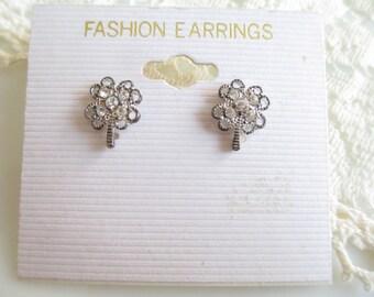 Vintage Rhinestone Clover Pierced Stud Earrings New Old Stock NOS