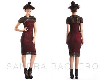 Cap Sleeve Dress with Diagonal Neckline Zipper