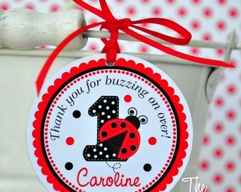 Ladybug Gift Tags, Ladybug Birthday Party, Personalized Favor Tags, Ladybug Hang Tags  - set of 12