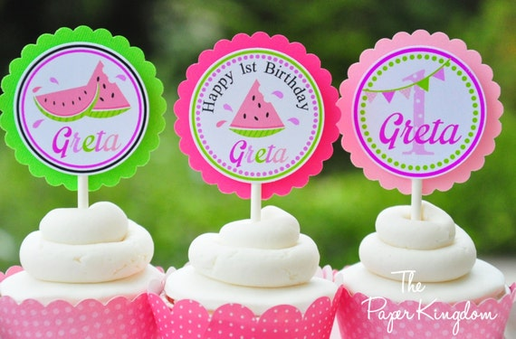 Watermelon Cupcake Toppers, Watermelon Birthday Party - Set of 12