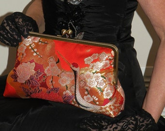 Large 10inch Frame Silk Kimono Bag/Purse/Clutch..Long Island Wedding/Bridal Wear Gift..Japanese Crane Bird..Floral.Red/Gold..Shawl/Wrap