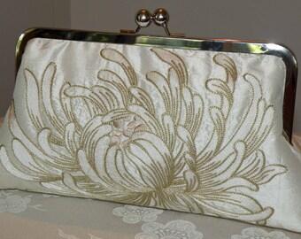 Silk Clutch/Purse/Bag..Long Island Bridesmaid/Bride..Embroidered Chrysanthemum/Bridal Blue/Coral Rose..Bridal/Wedding Gift..Free Monogram