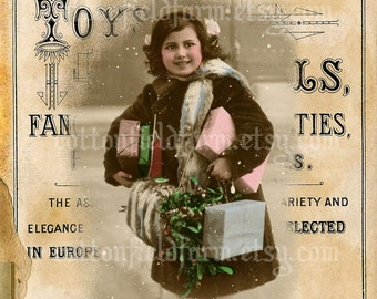 Winter Child on Vintage Toy Sign Digital Sheet C-513 Large 5 X 7  for Pillows, Aprons, Totes, Stockings, Decoupage, ECS,