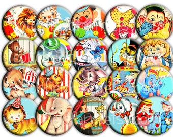 Retro Circus Fun Pin Back Buttons or Magnets for Party favors, Showers, Retro Parties, Birthday Party Favors, Set of 12