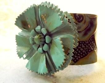 Leather cuff bracelet with retro 60's metal flower, repurposed jewelry