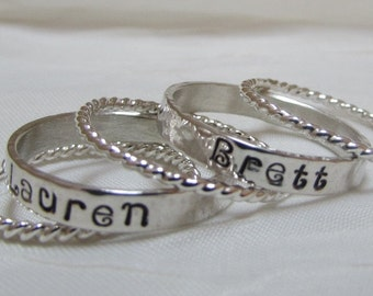 Mommy Rings Name Bands 3 mm Wide Hand Stamped Stacking Rings  Personalized Custom Rings