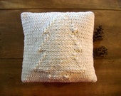 knit christmas tree pillow - white - winter - knitted pillow - christmas tree - warm - cozy - soft - cuddly
