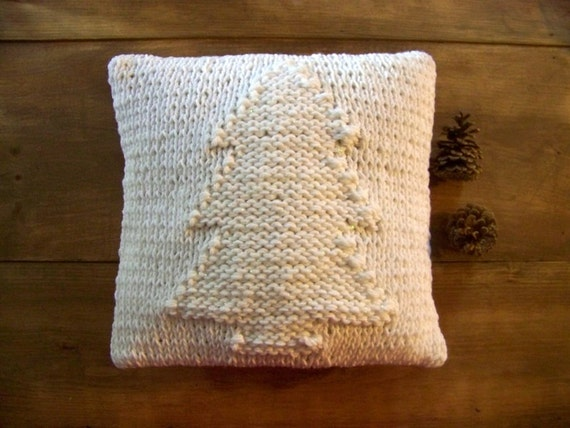 knit christmas tree pillow white winter knitted pillow