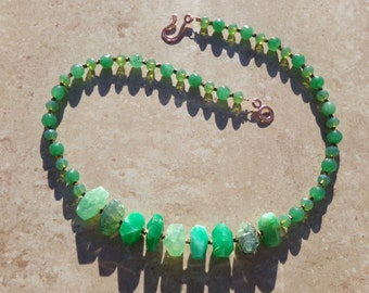 Agate Aventurine Green Glass Copper Hematite Necklace