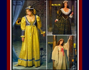 RENAISSANCE GOWNS-Costume Sewing Pattern-Three Styles-Deep Décolletage-Boned Lined Lace-Up Bodice-Cuffs-Angel Wings Sleeves-Uncut-Size 16-20