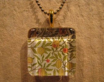 "William Morris Gold Fruit Wallpaper Square Glass Pendant with 24"" Ball Chain Necklace Arts and Crafts Jewelry"