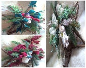 Winter Star Wreaths, Choices Start at 52 USD, Rustic Country Snowmen, Victorian Angel, Faux Evergreens Christmas, Burgundy Green Gold, #FDS2