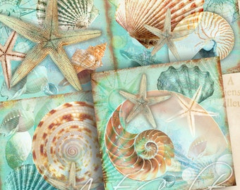3.8x3.8 inch size Images nautical SEA WORLD Digital Collage Sheet Printable download for coasters greeting cards paper craft ArtCult designs