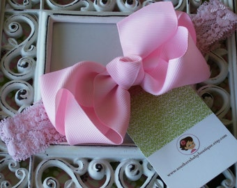 NEW ITEM----Boutique Baby Toddler Girl Hair Bow Clip with Lace Headband----PINK----