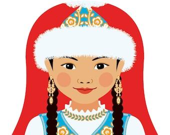 Kazakh Wall Art Print featuring culturally traditional dress drawn in a Russian matryoshka nesting doll shape