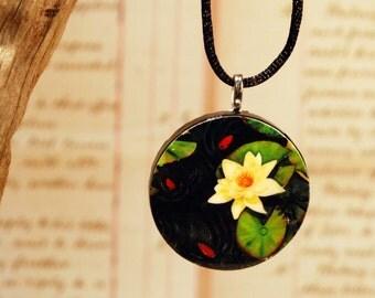Tiny Bits of Nature - Koi Pond - Necklace - Large Round