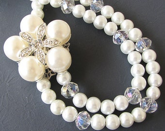 Bridal Jewelry Pearl Wedding Necklace Wedding Jewelry Flower Necklace Crystal Pearl Necklace Bridal Necklace