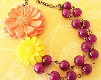 Flower Necklace Statement Jewelry Beaded Necklace Purple Jewelry Bib Necklace Bridesmaid Jewelry