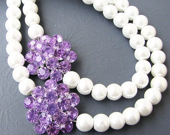 Bridal Jewelry Wedding Necklace Purple Wedding Jewelry Rhinestone Flower Necklace Crystal Bridal Necklace