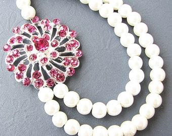 Bridal Jewelry Wedding Jewelry Pearl Rhinestone Necklace Pink Wedding Necklace Crystal Necklace Bridesmaid Gift